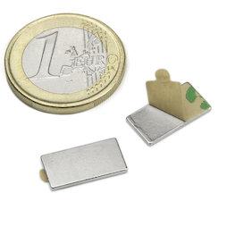 Q-15-08-01-STIC, Bloque magnético adhesivo 15 x 8 x 1 mm, neodimio, N35, niquelado