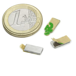 Q-10-05-01-STIC, Bloque magnético adhesivo 10 x 5 x 1 mm, neodimio, N35, niquelado