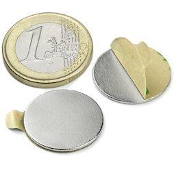 S-20-01-STIC, Disco magnético (adhesivo) Ø 20 mm, alto 1 mm, neodimio, N35, niquelado