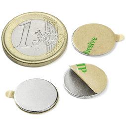 S-15-01-STIC, Disco magnético adhesivo Ø 15 mm, alto 1 mm, neodimio, N35, niquelado