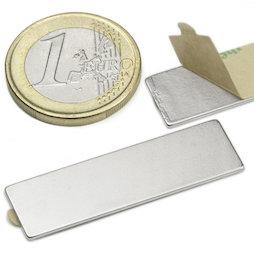 Q-40-12-01-STIC, Bloque magnético adhesivo 40 x 12 x 1 mm, neodimio, N35, niquelado