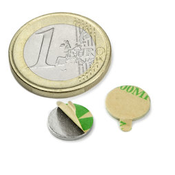 S-10-01-STIC, Disco magnético adhesivo Ø 10 mm, alto 1 mm, neodimio, N35, niquelado