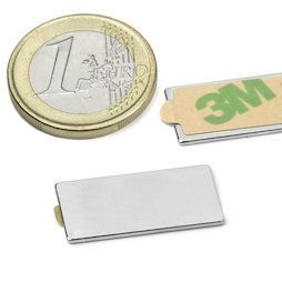 Q-25-12-01-STIC, Bloque magnético adhesivo 25 x 12 x 1 mm, neodimio, N35, niquelado