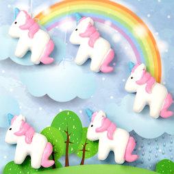 LIV-115, Unicornio, imanes decorativos con forma de unicornio, blanco-rosa, 5 uds.