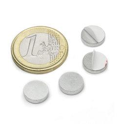PAS-10, Disco metálico autoadhesivo Ø 10 mm, como contrapieza para imanes, ¡no es un imán!