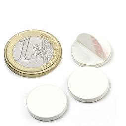 PAS-16-W, Disco metálico autoadhesivo blanco Ø 16 mm, como contrapieza para imanes, ¡no es un imán!