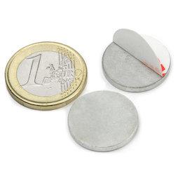 PAS-20, Disco metálico autoadhesivo Ø 20 mm, como contrapieza para imanes, ¡no es un imán!