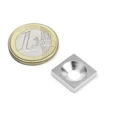 MC-15-15-03, Metalen plaatje met verzonken gat 15x15x3 mm, als tegenstuk voor magneten, geen magneet!
