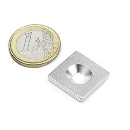 MC-20-20-03, Plaquitas metálicas con taladro avellanado 20x20x3 mm, como contrapieza para imanes, ¡no es un imán!