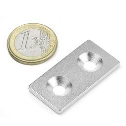MC-40-20-03, Plaquitas metálicas con taladro avellanado 40x20x3 mm, como contrapieza para imanes, ¡no es un imán!