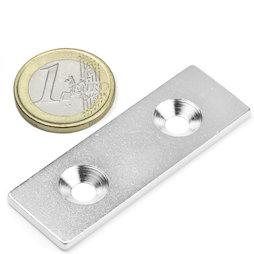 MC-60-20-03, Plaquitas metálicas con taladro avellanado 60x20x3 mm, como contrapieza para imanes, ¡no es un imán!