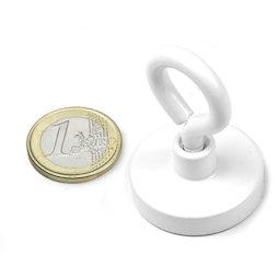 OTNW-32, Imán en recipiente con hembrilla blanca, Ø 32,3 mm, recubrimiento de polvo, rosca M5