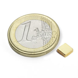 Q-05-05-02-G, Bloque magnético 5 x 5 x 2 mm, neodimio, N45, dorado