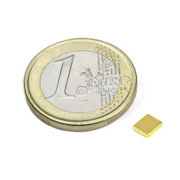 Q-05-04-01-G, Bloque magnético 5 x 4 x 1 mm, neodimio, N50, dorado