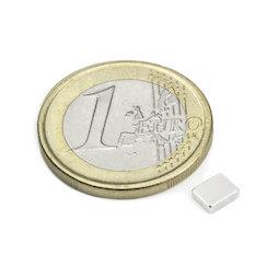 Q-05-04-1.5-N, Bloque magnético 5 x 4 x 1,5 mm, neodimio, N48, niquelado