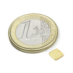 Q-CDM50-G, Bloque magnético 5 x 5 x 1,2 mm, neodimio, N50, dorado