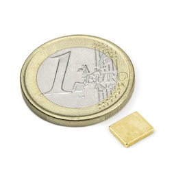 Q-07-06-1.2-G, Bloque magnético 7 x 6 x 1,2 mm, neodimio, N50, dorado