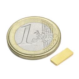 Q-10-04-01-G, Bloque magnético 10 x 4 x 1 mm, neodimio, N50, dorado