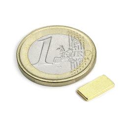 Q-10-05-1.2-G, Blokmagneet 10 x 5 x 1,2 mm, neodymium, N50, verguld