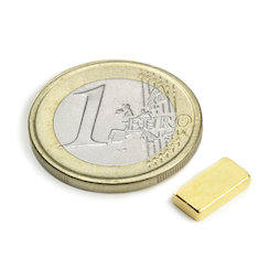 Q-10-05-02-G, Bloque magnético 10 x 5 x 2 mm, neodimio, N50, dorado