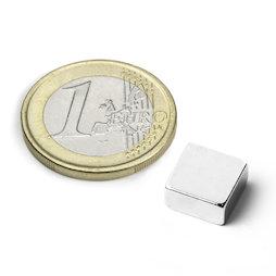 Q-10-10-03-N, Bloque magnético 10 x 10 x 3 mm, neodimio, N42, niquelado