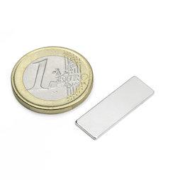 Q-25-08-01-N, Bloque magnético 25 x 8 x 1 mm, neodimio, N48, niquelado