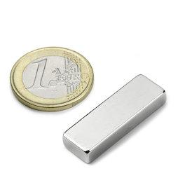 Q-30-10-05-N, Bloque magnético 30 x 10 x 5 mm, neodimio, N42, niquelado