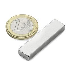 Q-40-10-05-N, Bloque magnético 40 x 10 x 5 mm, neodimio, N42, niquelado