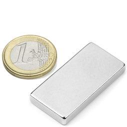 Q-40-20-05-N, Bloque magnético 40 x 20 x 5 mm, neodimio, N42, niquelado