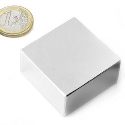 Q-40-40-20-N, Bloque magnético 40 x 40 x 20 mm, neodimio, N42, niquelado