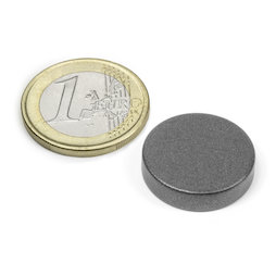 S-20-05-T, Disco magnético Ø 20 mm, alto 5 mm, neodimio, N42, revestido con teflón
