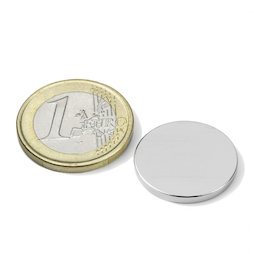 S-20-02-N52N, Disco magnético Ø 20 mm, alto 2 mm, neodimio, N52, niquelado
