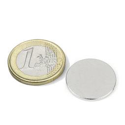 S-20-1.5-N, Disco magnético Ø 20 mm, alto 1,5 mm, neodimio, N38, niquelado