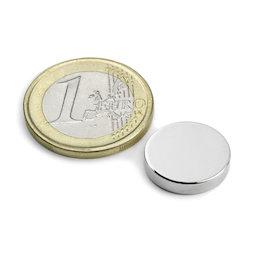S-15-03-N, Disco magnetico Ø 15 mm, altezza 3 mm, neodimio, N45, nichelato