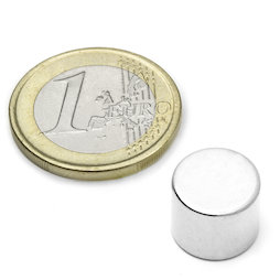 S-12-10-N, Disco magnético Ø 12 mm, alto 10 mm, neodimio, N45, niquelado