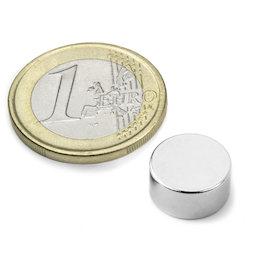 S-12-06-DN, Disco magnético Ø 12 mm, alto 6 mm, neodimio, N42, niquelado, magnetización diametral