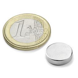 S-12-04-N, Disco magnético Ø 12 mm, alto 4 mm, neodimio, N45, niquelado