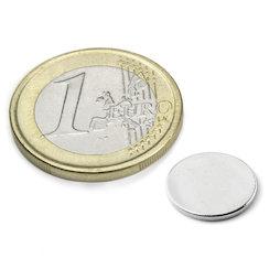 S-12-01-N, Disco magnético Ø 12 mm, alto 1 mm, neodimio, N42, niquelado