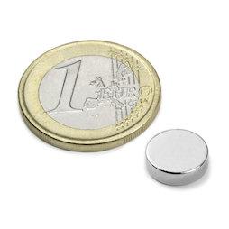 S-10-03-N52N, Scheibenmagnet Ø 10 mm, Höhe 3 mm, Neodym, N52, vernickelt