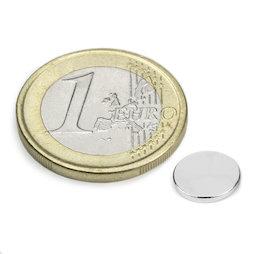 S-08-01-N, Disco magnético Ø 8 mm, alto 1 mm, neodimio, N45, niquelado
