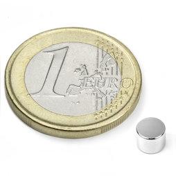 S-05-04-N, Disco magnético Ø 5 mm, alto 4 mm, neodimio, N45, niquelado