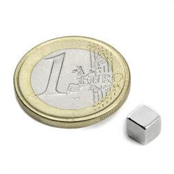 W-05-N, Cubo magnetico 5 mm, neodimio, N42, nichelato