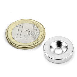 CS-S-18-04-N, Disc magnet Ø 18 mm, height 4 mm, with countersunk borehole, N35, nickel-plated
