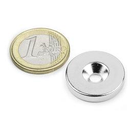 CS-S-23-04-N, Disco magnético Ø 23 mm, 4 mm de alto, con taladro avellanado, N35, niquelado