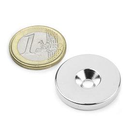CS-S-27-04-N, Disco magnético Ø 27 mm, 4 mm de alto, con taladro avellanado, N35, niquelado
