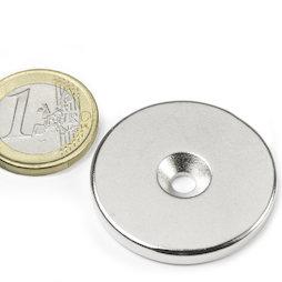 CS-S-34-04-N, Disco magnético Ø 34 mm, 4 mm de alto, con taladro avellanado, N35, niquelado