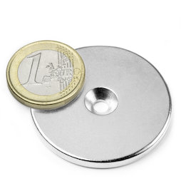CS-S-42-04-N, Disco magnético Ø 42 mm, 4 mm de alto, con taladro avellanado, N35, niquelado