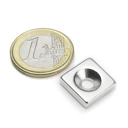 CS-Q-15-15-04-N, Bloque magnético 15 x 15 x 4 mm, con taladro avellanado, N35, niquelado