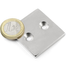 CS-Q-40-40-04-N, Bloque magnético 40 x 40 x 4 mm, con taladro avellanado, N35, niquelado