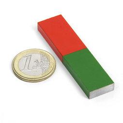 EDU-7, Barra magnética corta, 60 x 15 mm, de AlNiCo5, pintado de rojo y verde